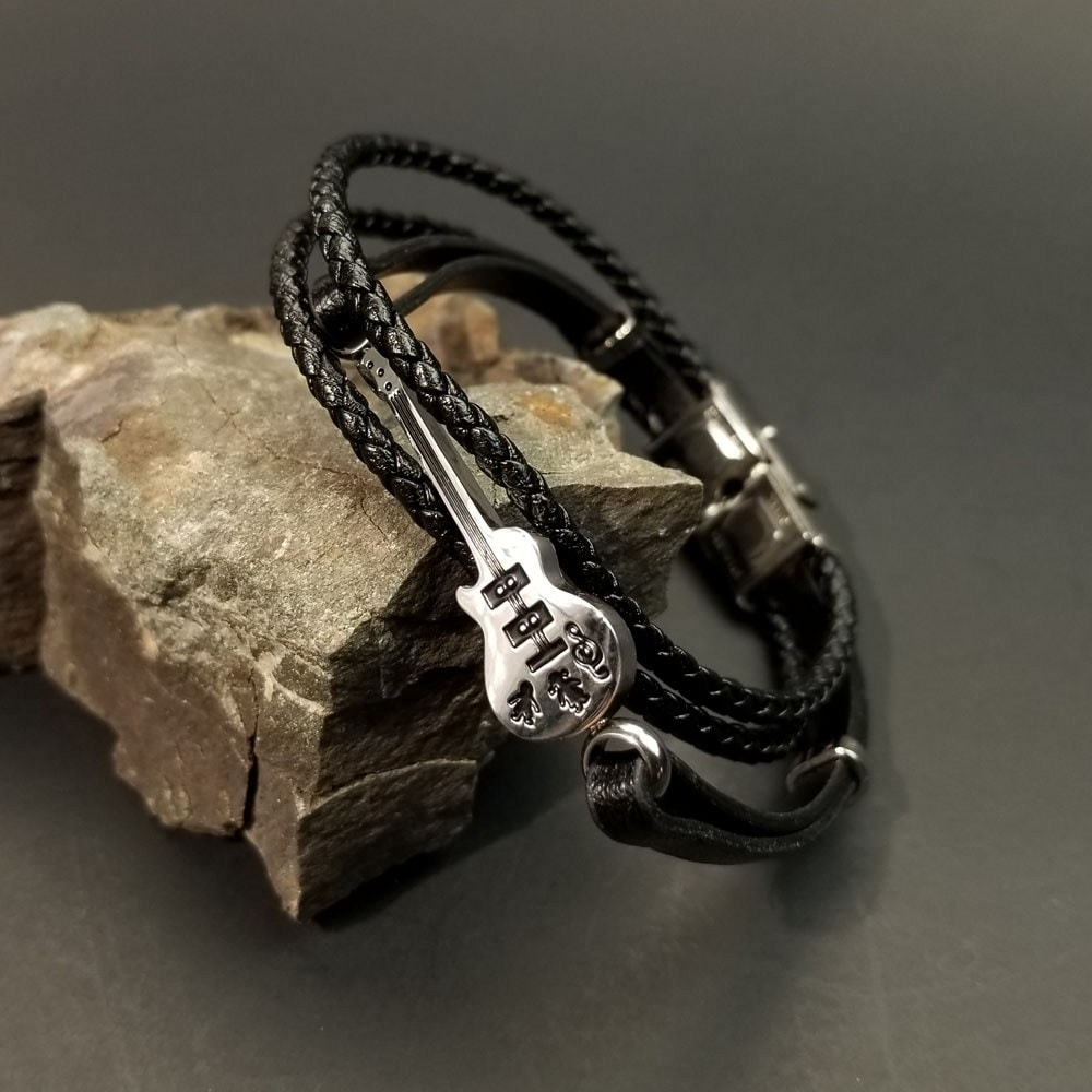 Leather guitar Bracelet by Paracord Warrior