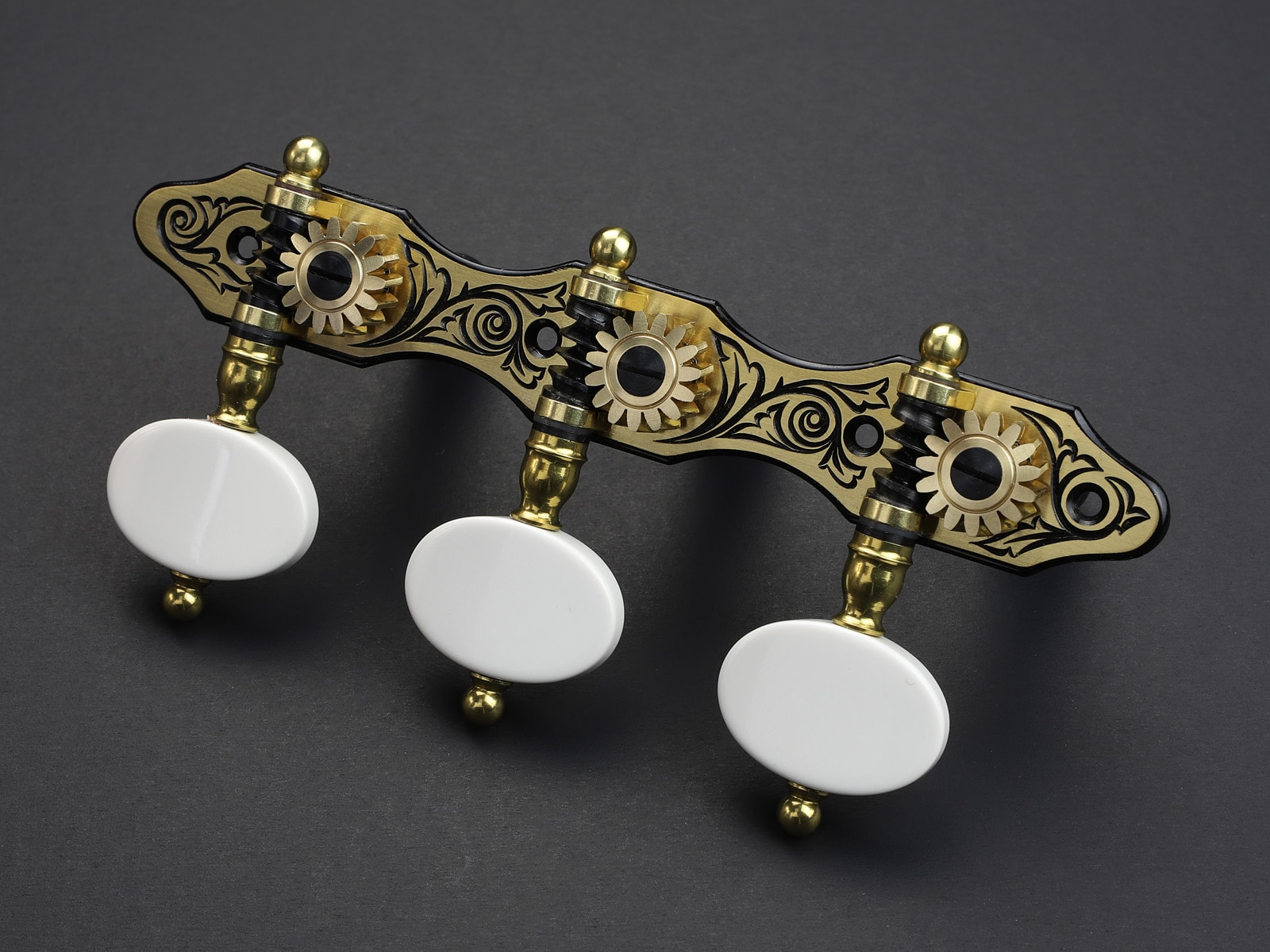 Rodgers Tuners L111 Blackened Brass white stone